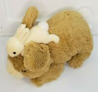 """Gund Doe & Leveret Tan Brown Plush Bunny with Baby Attached 14"""" x 7.5"""""""