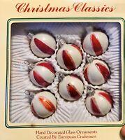 8 Commodore Christmas Classic Ornaments Peppermint Striped Glass Romania