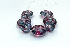 """UNIQUE HANDMADE LAMP WORK GLASS BEADS, """"PINK/TURQUOISE"""""""