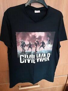 Mens Black T Shirt Size Large Marvel Captain America Civil War Top panther