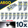 10x 501 Led T10 White W5w Side Light Number Plate Interior Car Wedge Bulbs 5 Smd