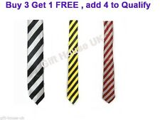 UNISEX STRIPED STRIPES MENS TIES SLIM SATIN PARTY WEDDING TIE NECKTIE BLACK B4