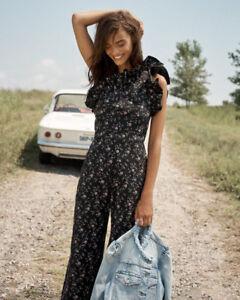 Rebecca Taylor One-Shoulder Floral Jumpsuit ( Size 12 )