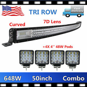 Tri-Row 50'' 648W LED Combo Light Bar 7D CURVED+4X 48W Pods Chevrolet Waterproof