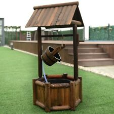 Wooden Garden Wishing Water Fountain Well With Pump Patio Yard Outdoor Decor
