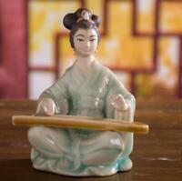 "7"" Chinese Handmade Porcelain Tan Qin Beautiful Woman Figurines Statues"