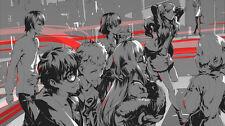 Persona 5 Akira Kurusu Ann Takamaki Futaba Silk Poster/Wallpaper 24 X 13 inches