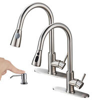 WEWE Single Handle Swivel Kitchen Sink Faucet Pull Out Spray Tap Soap Dispenser