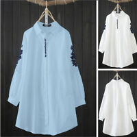 UK Women Cotton Linen Casual Loose Long Sleeve Embroidery Shirt Tunic Top Blouse
