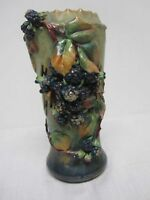 "ANTIQUE CROWN AMPHORA TEPLITZ AUSTRIA 9 1/2"" PIERCED VASE with BLACKBERRIES"