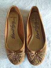 M&S Woman Pretty Pumps Tan Bow Embellished UK 5 Summer Shoes Ballet Pumps