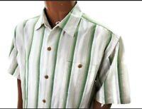 Tommy Bahama Original Fit Hawaiian Shirt Silk Blue Green Tropical Striped XL
