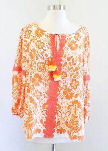 NWT Crown and Ivy Vibrant Orange Floral Print Tassel Tie Top Blouse Size L Boho