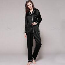 Womens 100% Silk Pajamas Pyjamas Set  Sleepwear S M L XL_19Momme