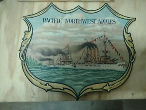 Rare 1920's Pacific Northwest Apples Label Nice Condition Military Ships
