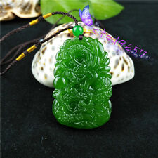 Natural Jade Dragon Phoenix Necklace Pendant Hand-Carved Lucky Amulet B7