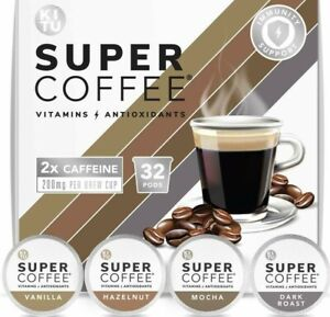 Kitu Super Coffee Pods for Focus and Clarity Vitamin & Antioxidants, 2x Caffine