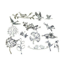 15pcs Silver Mixed Lot Bird Flower Tree Pendant Charms Jewelry DIY Accessories