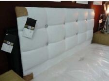 White Faux Leather Crystal Diamante Headboard to fit a 4ft6 Double Bed