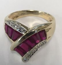 14K Solid Yellow Gold Baguettes Ruby Diamond Cocktail Ring
