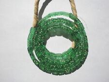 Antique Bohemian Glass Dice Trade Beads, Green- 4.5-5x9mm - Strand