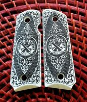 Compact Springfield Armory 1911 custom engraved ivory grips Scroll Checkered