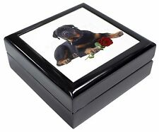 Rottweiler Dog with a Red Rose Keepsake/Jewellery Box Christmas Gift, AD-RW3RJB