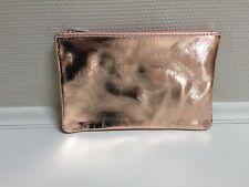 Echt Leder Clutch Kosmetiktasche Geldtasche Allrounder Zipper metallic rosegold