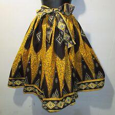 Skirt Fits M L XL 1X 2X Plus African Art Wax Print Ankara Brown Gold NWT 16321 H