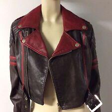 Jean Paul Gaultier Target Genuine Leather Motorbike Red Brown M 10
