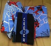Spider Man Fitted Flat Pillowcase Twin Size Bed Sheet Set Multi Color Marvel