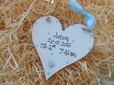 Personalised Newborn Baby Heart Plaque Keepsake Gift