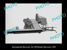 OLD HISTORIC PHOTO OF INTERNATIONAL HARVESTER GL-200 HEADER HARVESTER c1940