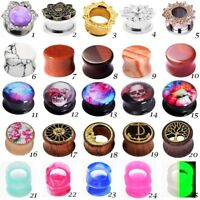 PAIR 25 Styles Ear Gauge Ear Plugs Solid Tunnel Unisex Piercing Jewelry 0g-5/8""