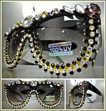 OVERSIZE VINTAGE RETRO Style SUN GLASSES Black Frame Crystals Stones Custom Made