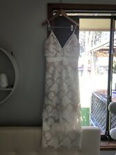 womens midi length bardot formal dress white nude never worn good condition
