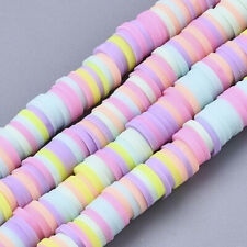 350 x Mixed Coloured PASTELS Heishi Flat Round Spacer Beads - Size 6x1mm.