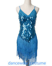 Ladies Night Club Cocktail Party Ballroom Latin Dance Dress Sequin Fringe Skirt