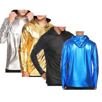 Men Shiny Leather Long Sleeve T-Shirt Top Muscle Nightclub Cool Clubwear Hoodies