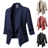 Plus Size Women Collar Suit Jacket Coat Blazer Ladies 3/4 Sleeve Cardigan 12-18