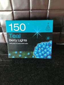 150 Blue Christmas berry lights
