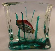 """Vintage Venetian Salviati Murano glass aquarium block w/ fish & seaweed. 5 ½"""" t."""