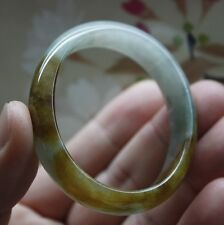 Certified Grade A Natural Perfect Icy Yellow Light Green JADE Oval Shape Bangle