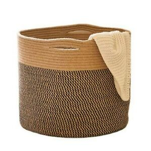 Cotton Rope Woven Basket Bathroom Laundry Basket Dirty Clothe Container Foldable