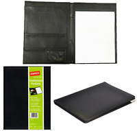 Collins A4 Black Faux Leather Executive Conference Folder Folio Pockets & Pad