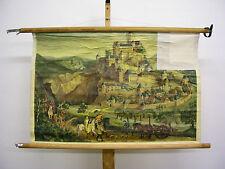 Belle ancienne schulwandbild mural Ritterburg 13. Jahrhund .96x63 Vintage ~ 1955