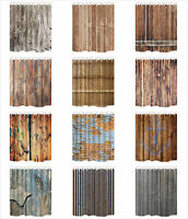 Various Pattern Wood Plank Wall Polyester Fabric Bathroom Shower Curtain 71*71in