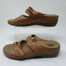 Spring Step Womens Sunshine Slide Sandals Brown Leather Slip Ons 9.5-10 EU 41