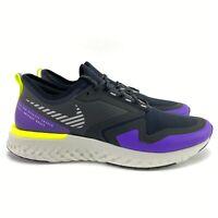 Nike Men's Odyssey React 2 Shield Black Metallic Silver Running Shoes Size 11.5