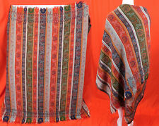 Victorian Antique Jacquard Hand Loom Wool Paisley Boteh Striped Shawl 70 x70 Vtg